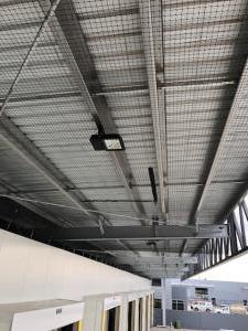 Loading dock canopies bird netted