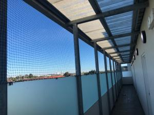 Bird netting installed to unit balcony